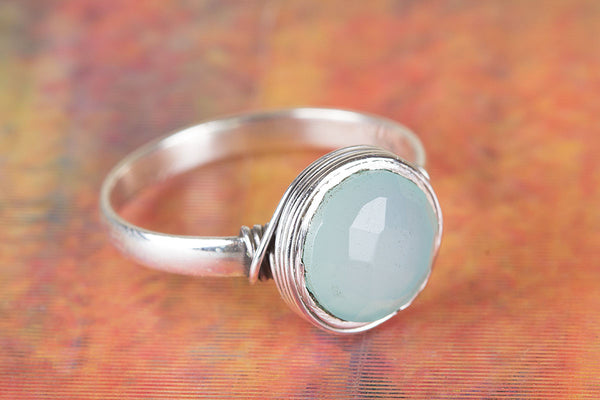 Wonderful Faceted Aqua Chalcedony Gemstone Sterling Silver Ring