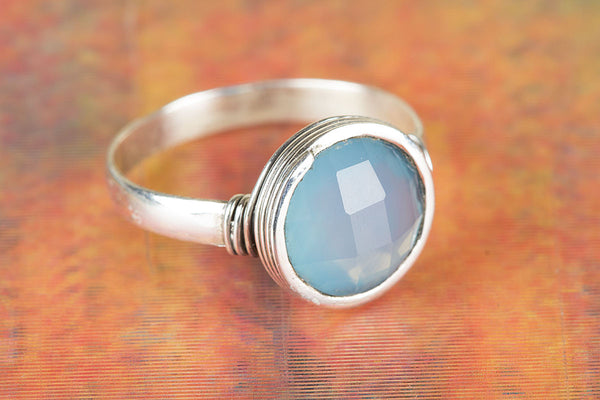 Wonderful Faceted Blue Chalcedony Gemstone Sterling Silver Ring