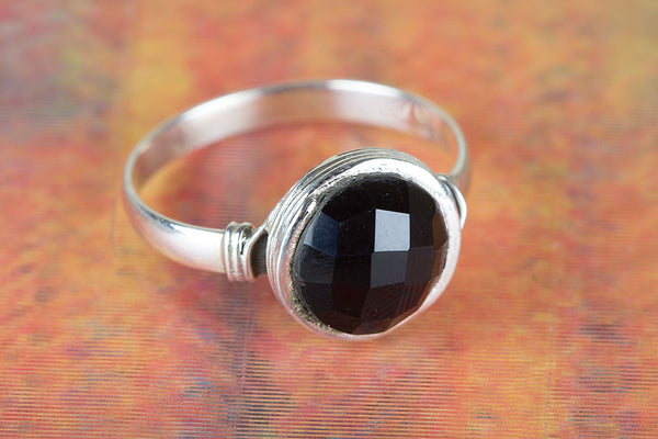 Wonderful Faceted Black Onyx Gemstone Sterling Silver Ring