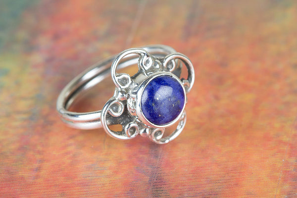 Flower Shape Lapis Lazuli Ring, 925 Silver, Dainty Ring, Charm Ring, Gypsy Ring, Alternative Ring, Vintage Ring, Latest Ring, Yoga Ring, Casual Ring, Special Occasion Ring, Natural Gemstone Ring, Statement Ring, Anniversary Ring, Gift Her