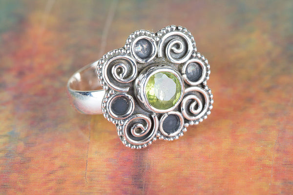 Flower Shape Peridot Gemstone Sterling Silver Ring,