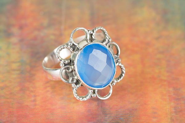 Flower Shape Faceted Blue Chalcedony Gemstone Silver Ring