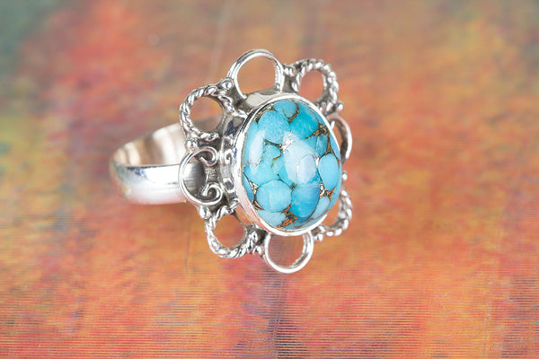 Flower Shape Blue Copper Turquoise Gemstone Silver Ring
