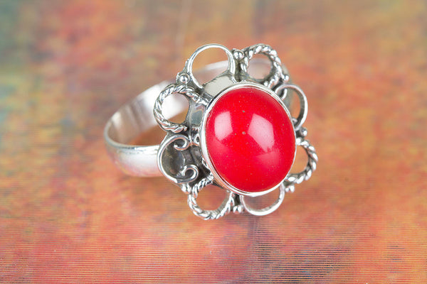Flower Shape Coral Gemstone Silver Ring