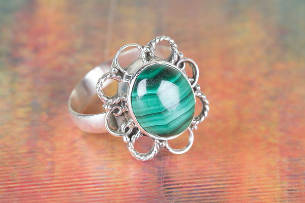 Flower Shape Malachite Gemstone Silver Ring