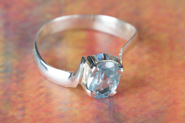 Charming Blue Topaz Gemstone Silver Ring