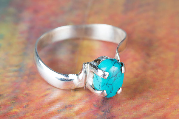 Turquoise Ring 925 Silver Prong Ring Exclusive Ring Modern Design Ring Occasion Ring Trendy Ring Casual Ring Statement Ring Daily Wear Ring Attractive Ring Wedding Ring Gift Her..