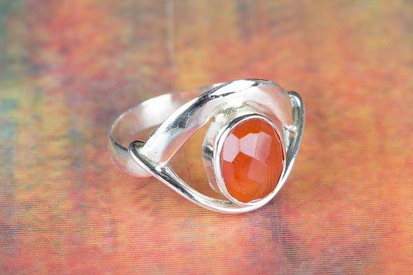 Charming Faceted Carnelian Gemstone Silver Ring,