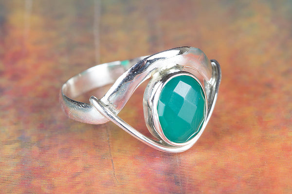 Charming Facted  Green Onyx Gemstone Silver Ring