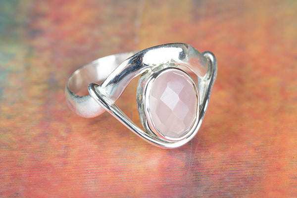 Charming Faceted Rose Quartz Gemstone Silver Ring