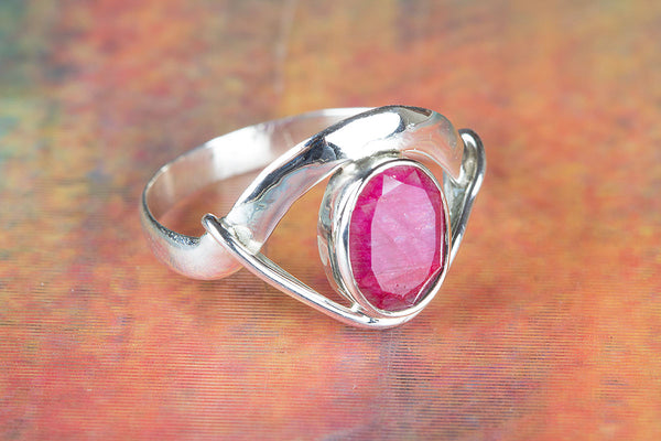 Charming Ruby Gemstone Sterling Silver Ring,