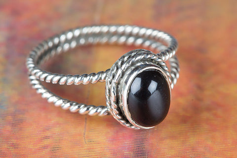 Amazing Black Onyx Gemstone Pure Sterling Silver Ring