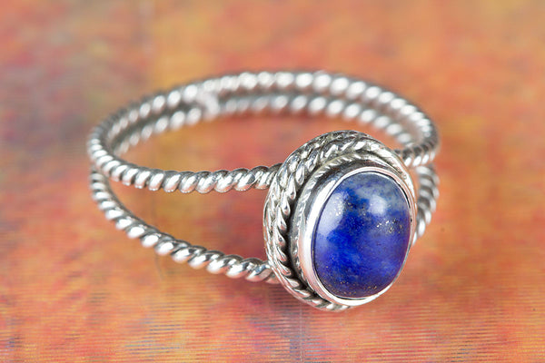 Lapis Lazuli Gemstone Pure Sterling Silver Ring,