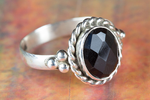 Awesome Faceted Black Onyx Gemstone Silver Ring,