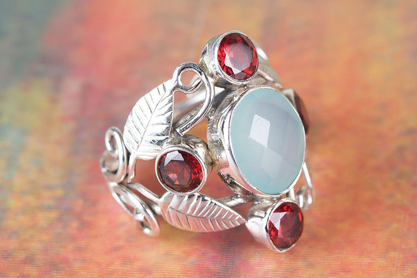 Wonderful Faceted Aqua Chalcedony Silver Leaf Ring
