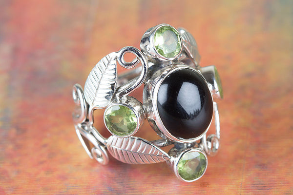Black Onyx & Peridot Ring 925 Silver Wide band Ring Eye catch Ring Elegant Ring Special Occasion Ring Latest Ring Unique Ring Delicate Ring Attractive Ring Engagement Ring Wedding Ring Gift her