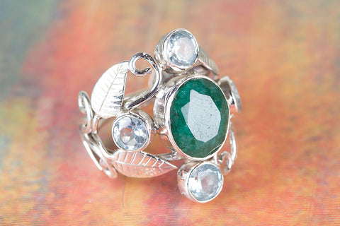 Wonderful Emerald & Blue Topaz Gemstone Sterling Silver Ring