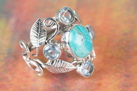 Wonderful Natural Turquoise & Blue Topaz Gemstone 925 Silver Leaf Ring