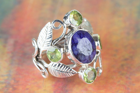 Wonderful Sapphire & Peridot Gemstone Sterling Silver Ring