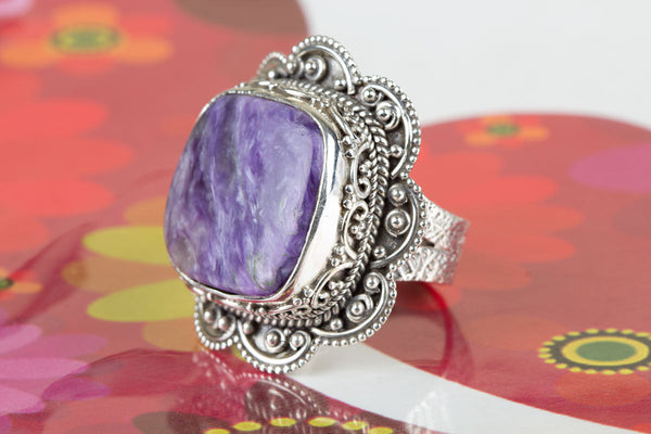 Beautiful Charoite Gemstone Sterling Silver Ring,