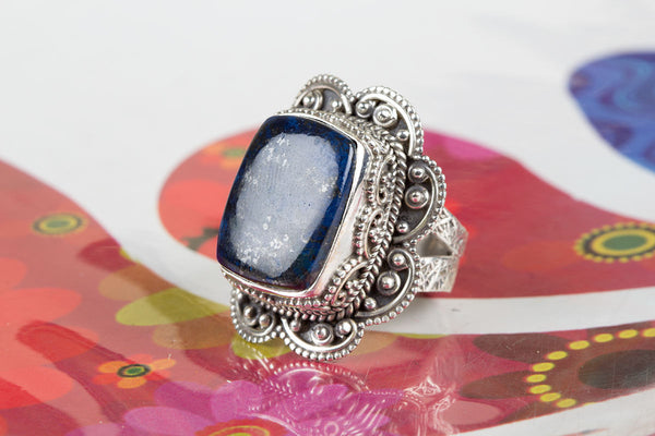 Lapis Lazuli Ring, 925 Silver, Antique Stylish Ring, charm Ring, Trendy Ring, Cushion Shape Ring, Alternative Ring, Gypsy Ring, Latest Design Ring, Special Occasion Ring, Natural Gemstone Ring, Anniversary Ring, Yoga Ring, Girlfriend Ring, Gift