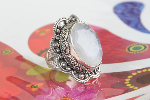Wonderful Rainbow Moonstone Ring, 92.5% Sterling Silver Sing, Silver Moonstone Ring, Gemstone Ring, Sterling Silver Ring