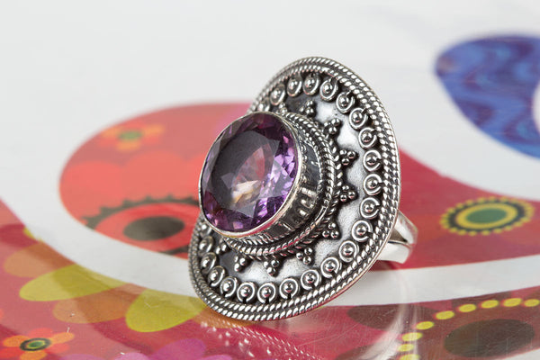 Wonderful Faceted Amethyst Gemstone Sterling Silver Ring