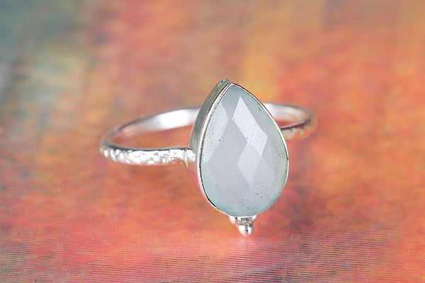 Pure Sterling Silver Aqua Chalcedony Gemstone Ring,