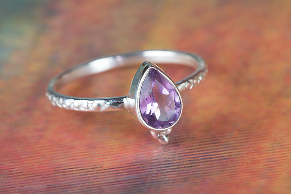 Stunning Sterling Silver Amethyst Gemstone Ring,