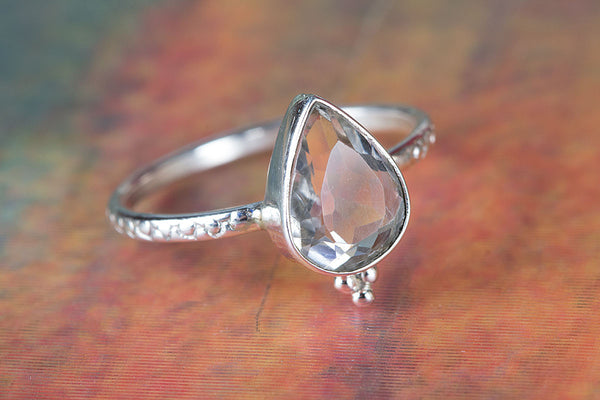 Awesome Crystal Quartz Gemstone Sterling Silver Ring,
