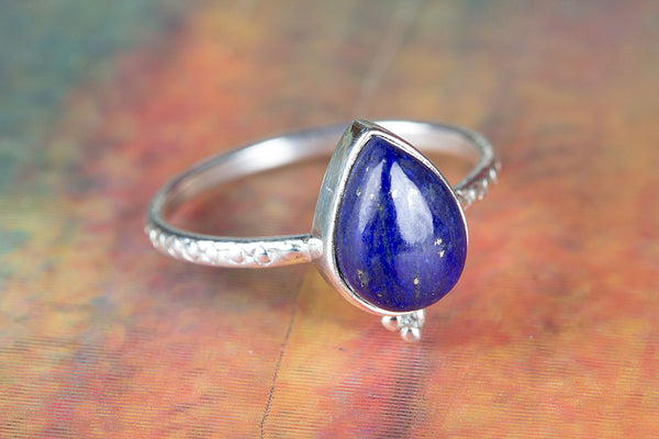 Lapis Lazuli Ring, 925 Sterling Silver, Dainty Ring, Traditional Ring, Charm Ring, Gypsy Ring, Pear Shape Ring, Modern Designer Ring, Alternative Ring, Bohemian Ring, Daily wear Ring, Bridesmaid Ring, Anniversary Ring, Gift Her