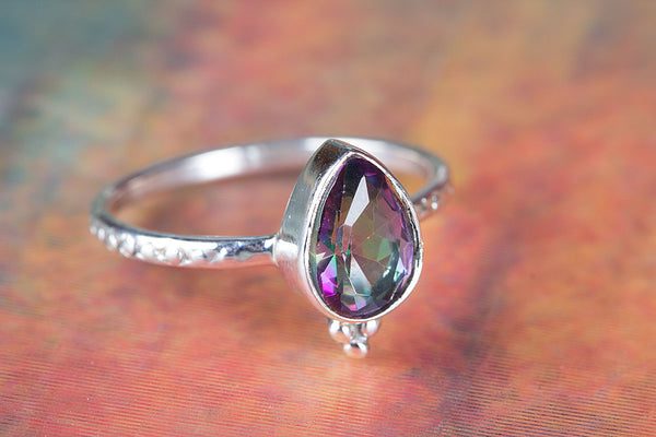 Wow Mystic Topaz Gemstone Sterling Silver Ring,