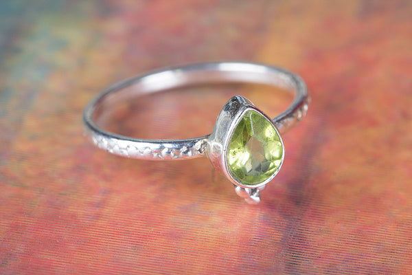 Genuine Peridot Gemstone Sterling Silver Ring,