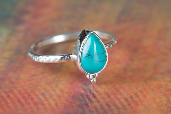 Pure Sterling Silver Turquoise Gemstone Ring,