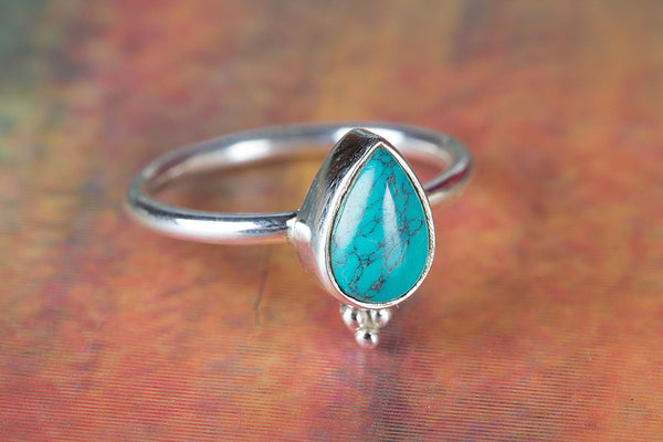 Turquoise Ring, Handmade Ring, Turquoise Stone Ring,925 Sterling Silver, Silver Ring, Engagement Ring, delicate Ring, designer Ring Gift Her