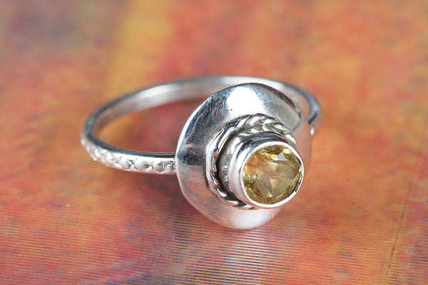Citrine Ring 925 Silver Elegant Ring Petite Ring Occasion Ring Yellow Bride Ring Bohemian Ring Casual Ring Chunky Ring Stacking Ring Daily Ring Artisan Ring Special Occasion Ring Gypsy Ring Casual Ring Bohemian Ring Yellow Wedding Ring Gift Her.
