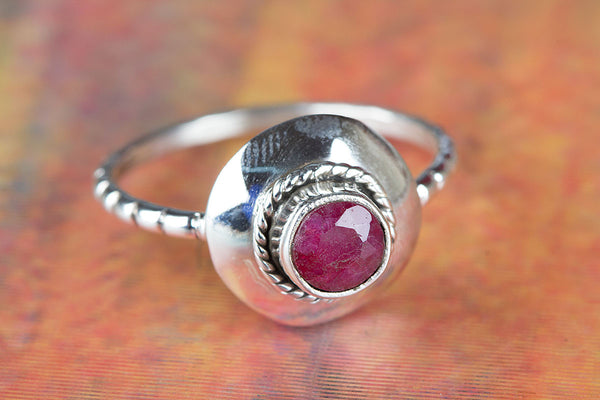 Ruby Ring, 925 Sterling Silver, Wedding Gift, Handmade Ring, Birthstone Jewelry, Gift Her