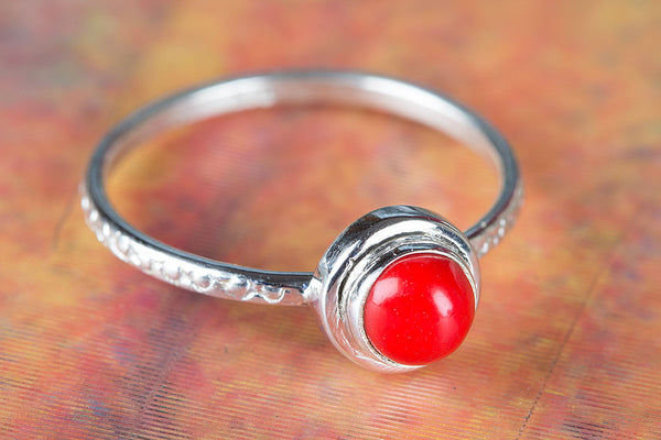 Coral Ring 925 Silver Stacking Ring Unique Red Ring Bride Ring Pretty Love Ring Classic Ring Statement Ring Elegant Ring Daily Wear Ring Engagement Ring Gift Her