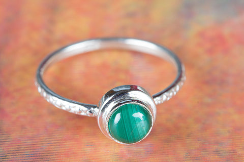 Wow Malachite Gemstone Sterling Silver Ring,