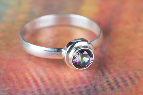 Mystic Topaz Gemstone Sterling Silver Ring,
