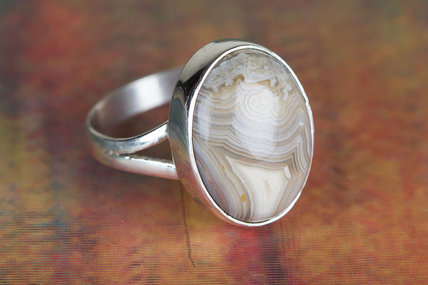 Wonderful Crazy Less Agate Gemstone Sterling Silver Ring