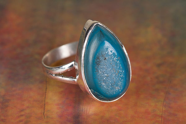 Wonderful Blue Druzy Slice Gemstone Sterling Silver Ring