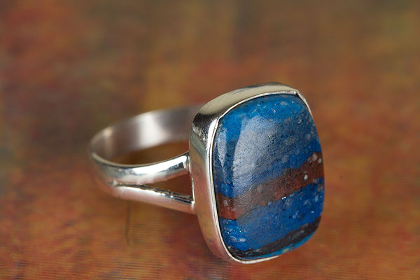 Wonderful Rainbow Calsilica Gemstone Sterling Silver Ring