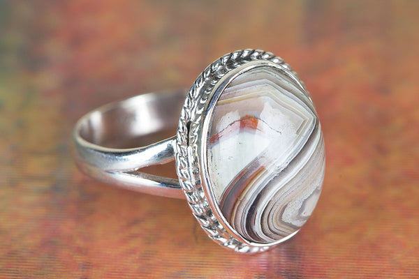 Charming Crazy Lace Agate Gemstone Silver Ring