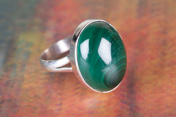 Charming Malachite Gemstone Sterling Silver Ring,