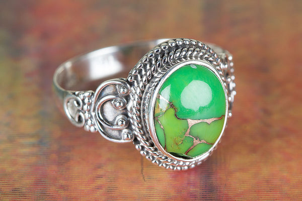 Wonderful Green Turquoise Gemstone Sterling Silver Ring