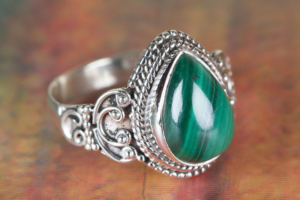 Beautiful Malachite Gemstone Sterling Silver Ring,