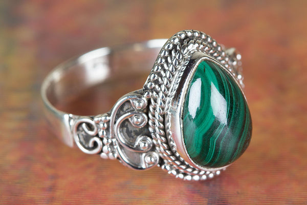 Beautiful Malachite Gemstone 925 Sterling Silver Ring