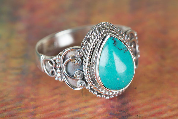 Wonderful Natural Turquoise Gemstone Sterling Silver Ring