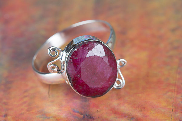 Ruby Ring, 925 Sterling Silver, Solitaire Ring, July Birthstone, Real Genuine Red Ruby Jewelry, Oval Cut, Appraised
